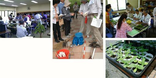 植物栽培の実習などを行う作業室、道具類も充実