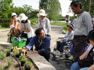 公園で行われる一般市民・障がい者が一体となって健康改善をはかる園芸